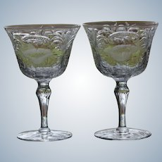 Pair of American Brilliant Period Engraved & Cut Glass Cocktail Glasses