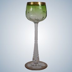 Moser Engraved Wine Glass Green to Clear, Circa 1920