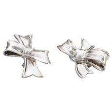 Circa 1984 Angela Cummings Bow Earrings Sterling Silver Vintage Fine Jewelry