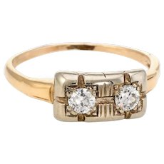 Vintage Double Diamond Ring 14 Karat Yellow Gold Estate Fine Jewelry Sz 6 1/4