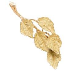Vintage Leaf Brooch Pendant 18k Karat Yellow Gold Organic Branch Estate Fine Jewelry