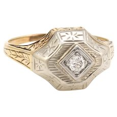 Vintage Art Deco Two Tone Diamond Ring 14 Karat Gold Estate Fine Jewelry Etched