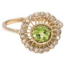 Peridot Diamond Halo Cocktail Ring Vintage 9 Karat Yellow Gold Estate Fine Jewelry