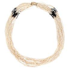 "Multi 18 Strand Necklace Freshwater Pearls Onyx Long 32"" 14 Karat Gold Vintage"