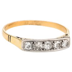 Antique Deco Mine Cut Diamond Band Vintage 14 Karat Gold Wedding Ring Estate 7.75