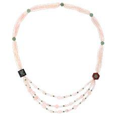 "Rose Green Quartz Onyx Agate Long 32"" Necklace Estate Vintage Jewelry"