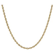 """Long 31"""" Necklace Vintage 14 Karat Yellow Gold Rope Chain Turquoise Cannetille Clasp"""