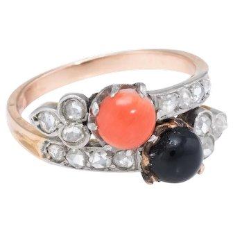 Moi et Toi Vintage Art Deco Coral Onyx Diamond Ring 14 Karat Yellow Gold Estate