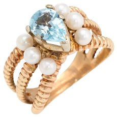 Vintage Cocktail Ring Blue Topaz Cultured Pearl 14 Karat Yellow Gold Estate Jewelry