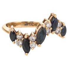 Vintage Sapphire Diamond Ring 70s Undulating Design Estate Fine Jewelry Sz 5.75