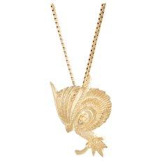 Owl Pendant Necklace Diamond Eyes Vintage 14 Karat Yellow Gold Estate Fine Jewelry