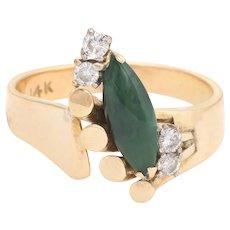 Vintage Jade Diamond Ring 70s Cocktail Jewelry 14 Karat Yellow Gold Estate Fine