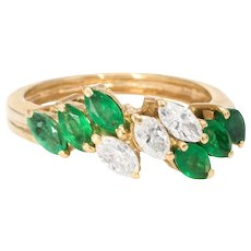 Marquise Emerald Diamond Band Ring Vintage 14 Karat Yellow Gold Estate Fine Jewelry