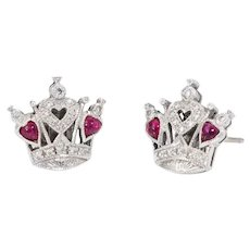 Queen of Hearts Diamond Ruby Stud Earrings Estate 18 Karat White Gold Fine Vintage