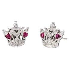 Queen of Hearts Diamond Ruby Stud Earrings Estate 18 Karat White Gold Fine Vintage
