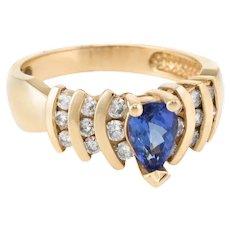 Pear Cut Tanzanite Diamond Ring Vintage 14 Karat Yellow Gold Estate Fine Jewelry Sz 7