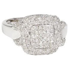 Square Pave Diamond Cocktail Ring Estate 18 Karat White Gold Fine Jewelry Sz 6