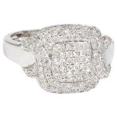 Square Pave Diamond Cocktail Ring Estate 18 Karat White Gold Fine Jewelry Sz 6