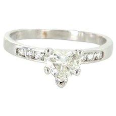 Diamond Heart Solitaire Engagement Ring Vintage 14 Karat White Gold Sz 5 75