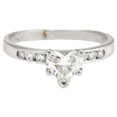 Diamond Heart Solitaire Engagement Ring Vintage 14 Karat White Gold 5.75 Certificate