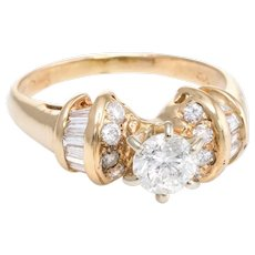 Diamond Engagement Ring Vintage 14 Karat Yellow Gold Estate Fine Jewelry Pre Owned
