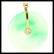 Vintage 14 Karat Yellow Gold Green Jade Disc Pendant Estate Fine Jewelry Pre Owned