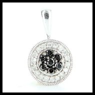 Estate 10 Karat White Gold Black White Diamond Pendant Fine Jewelry Pre-Owned