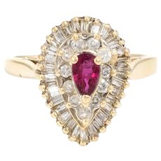 Vintage Ruby Diamond Ring 14 Karat Yellow Gold Pear Shaped Cocktail Estate Cluster