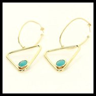Vintage 14 Karat Yellow Gold Turquoise Triangle Hoop Earrings Fine Jewelry Used