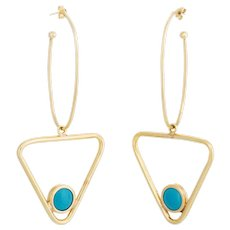 Large Turquoise Triangle Dangle Earrings Vintage 14 Karat Yellow Gold Estate Jewelry