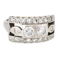 Double Diamond Band Ring Vintage 14 Karat White Gold Estate Fine Jewelry Sz 5 1/2