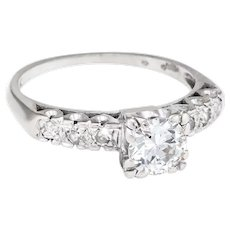 Vintage Art Deco .85ct Diamond Engagement Ring Estate 14 Karat White Gold Estate