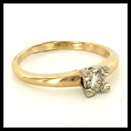 Vintage 14 Karat Yellow Gold Diamond Engagement Ring Fine Estate Jewelry Used