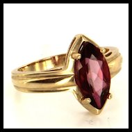 Estate 10 Karat Yellow Gold Pink Tourmaline Cocktail Ring Fine Jewelry Used