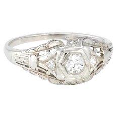 Vintage Art Deco Diamond Ring 14 Karat White Gold Estate Fine Jewelry Heirloom