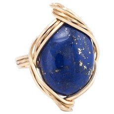 Lapis Lazuli Cocktail Ring Vintage 14 Karat Yellow Gold Estate Fine Jewelry Pre Owned