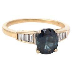 Vintage Blue Sapphire Diamond Engagement Ring 14 Karat Yellow Gold Bridal Jewelry