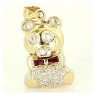 Vintage 14 Karat Yellow Gold Diamond Ruby Teddy Bear Pendant Fine Estate Jewelry