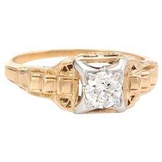 Antique Art Deco Diamond Engagement Ring Vintage 14 Karat Two Tone Gold Fine Jewelry