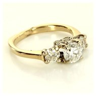 Vintage 14 Karat Yellow White Gold Diamond Trilogy Anniversary Ring Fine Jewelry