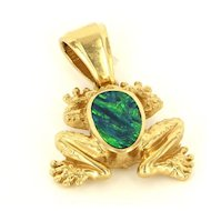 Estate 14 Karat Yellow Gold Black Opal Doublet Frog Pendant Fine Jewelry