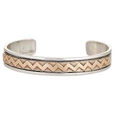 M. M. Rogers Cuff Bracelet Estate 14 Karat Gold Sterling Silver Native American