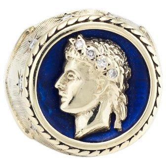 Roman Bust Ring Vintage 14 Karat Yellow Gold Blue Enamel Estate Fine Jewelry