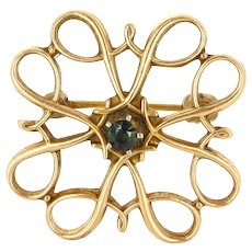 Vintage 10 Karat Yellow Gold Iolite Brooch Pin Fine Estate Jewelry Pre-Owned