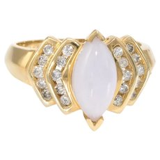 Lavender Jade Diamond Navette Cocktail Ring Estate 14 Karat Yellow Gold Fine Jewelry