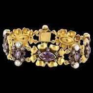 Art Deco 18 Karat Yellow Gold Amethyst Diamond Cultured Pearl Bracelet
