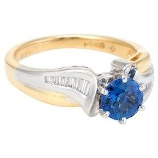 Sapphire Diamond Ring Vintage 18 Karat Gold Platinum Estate Fine Jewelry Pre Owned
