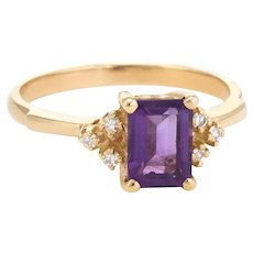 Vintage Amethyst Diamond Ring 14 Karat Gold Small Cocktail Estate Jewelry Sz 6.25