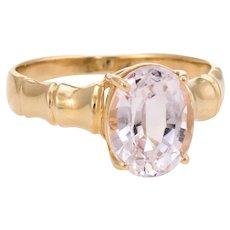 Vintage Morganite Cocktail Ring 14 Karat Yellow Gold Bamboo Estate Pink Jewelry 6.75