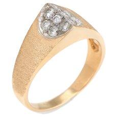 Vintage Pointed Diamond Ring 14 Karat Yellow Gold Estate Fine Jewelry Satin Finish